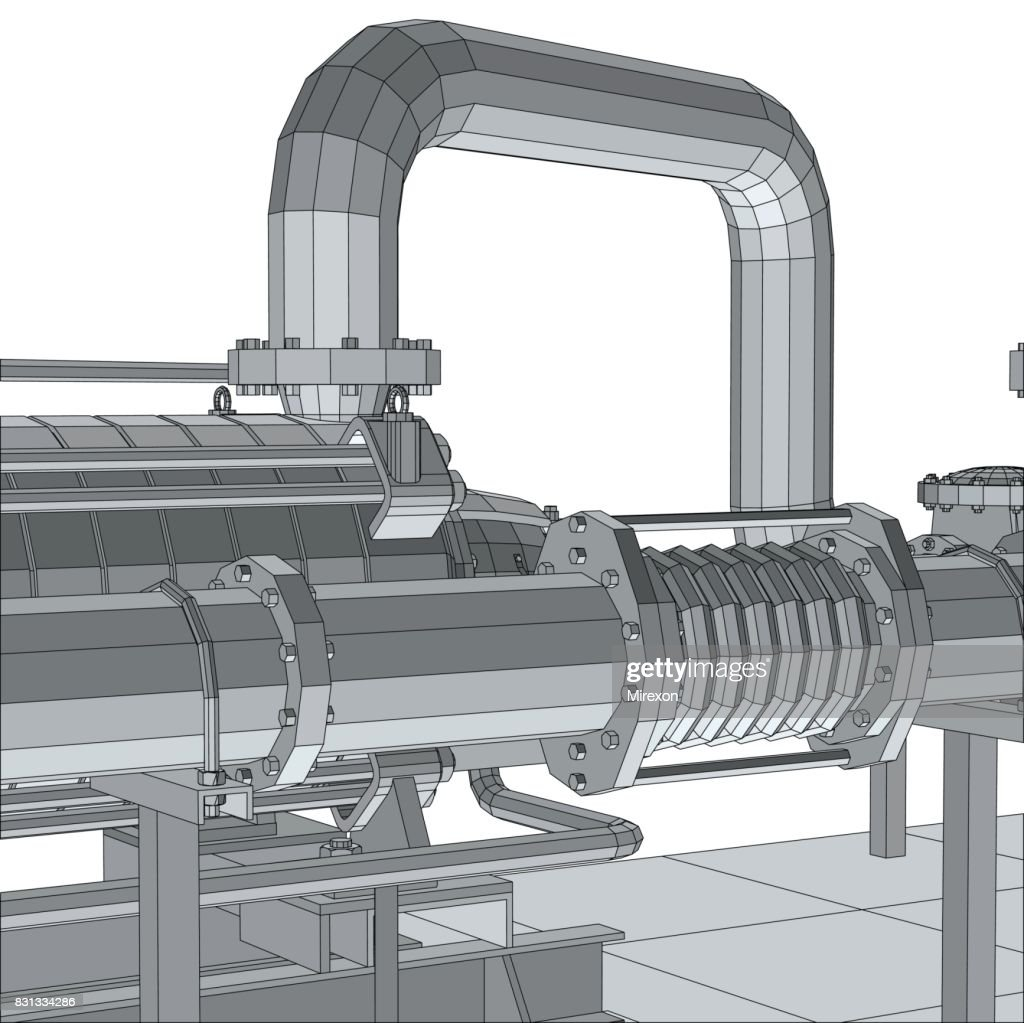 Industrial equipment pipeline. Wire-frame. EPS10 format. Vector rendering of 3d