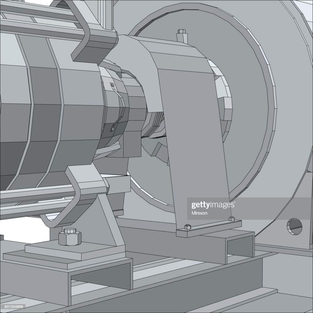 Industrial equipment pump. Electrical engine. Wire-frame. EPS10 format. Vector rendering of 3d