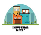 Industrial factory design, Vector illustration