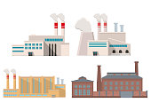 Industrial factory in flat style a vector an illustration.Plant or Factory Building.road tree window facade.Manufacturing factory building. industrial building concept.