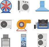 Industrial fan vector illustration.