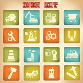 Industrial icons,vintage style,vector
