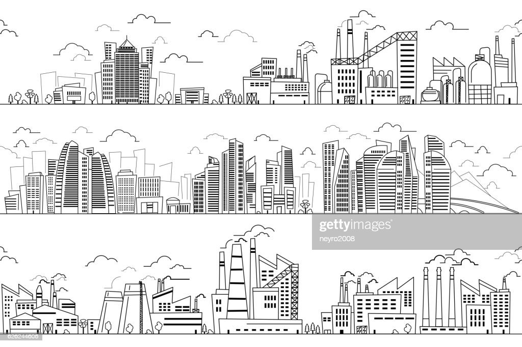 Industrial landscape and hand drawn cityscape