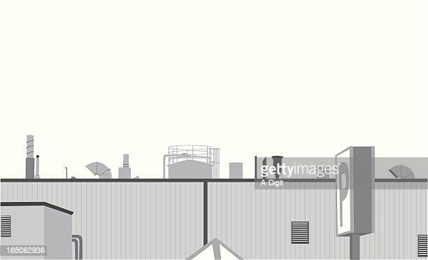 industrial landscape vector silhouette - air duct stock illustrations