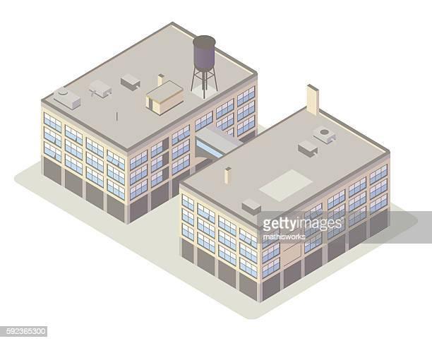 Industrial loft buildings illustration