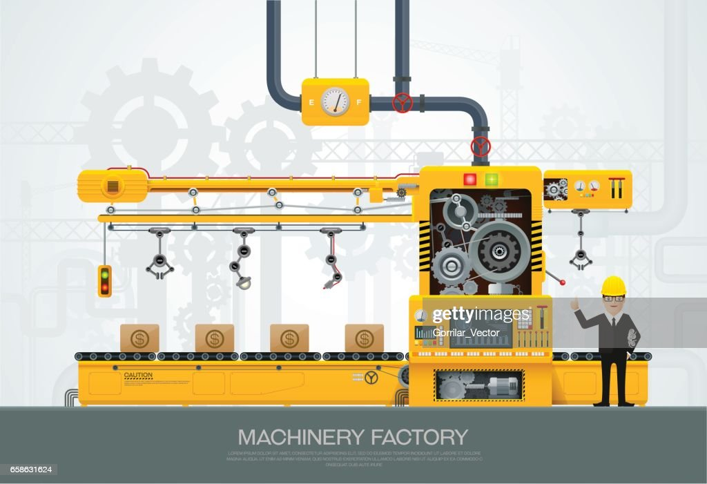 Industrial machine Factory construction equipment engineering vector
