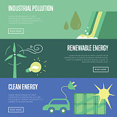 Industrial pollution. Renewable and clean energy.