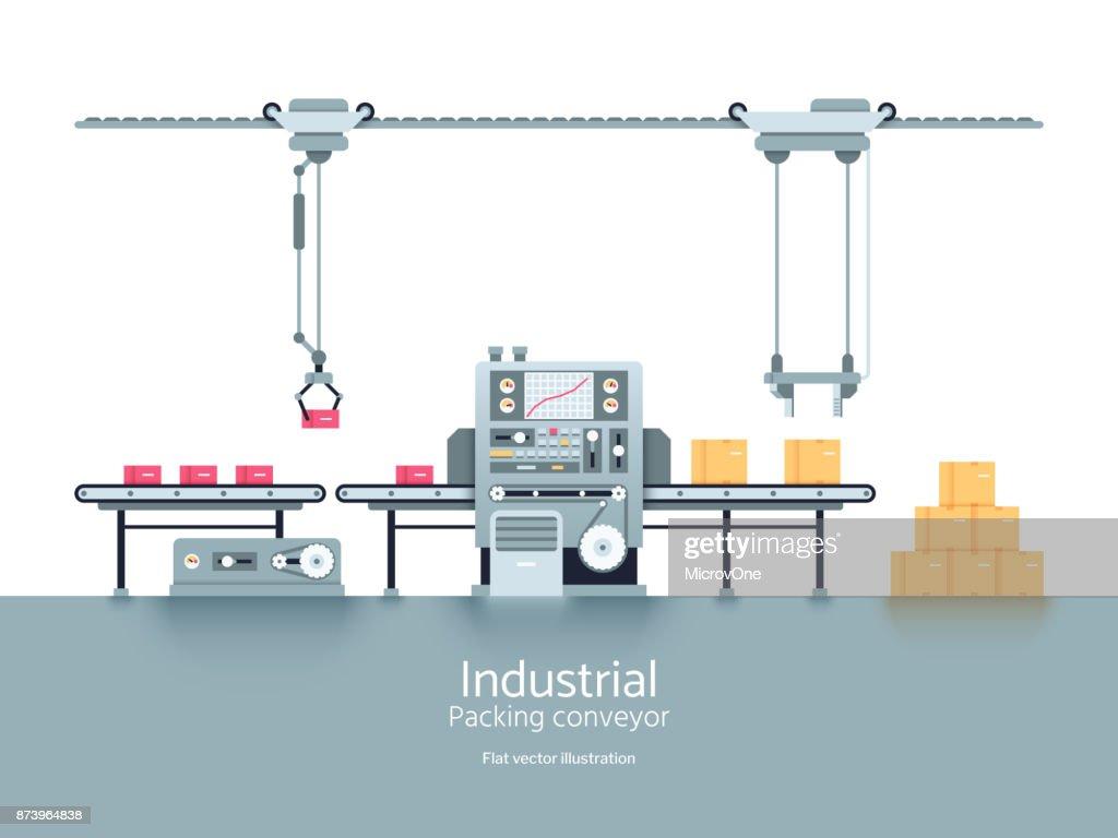 Industrial production factory conveyor flat vector illustration
