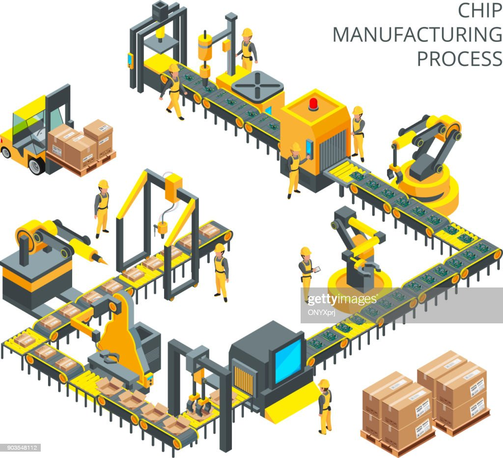 Industrial production of computer parts. Machinery tools for automation processes