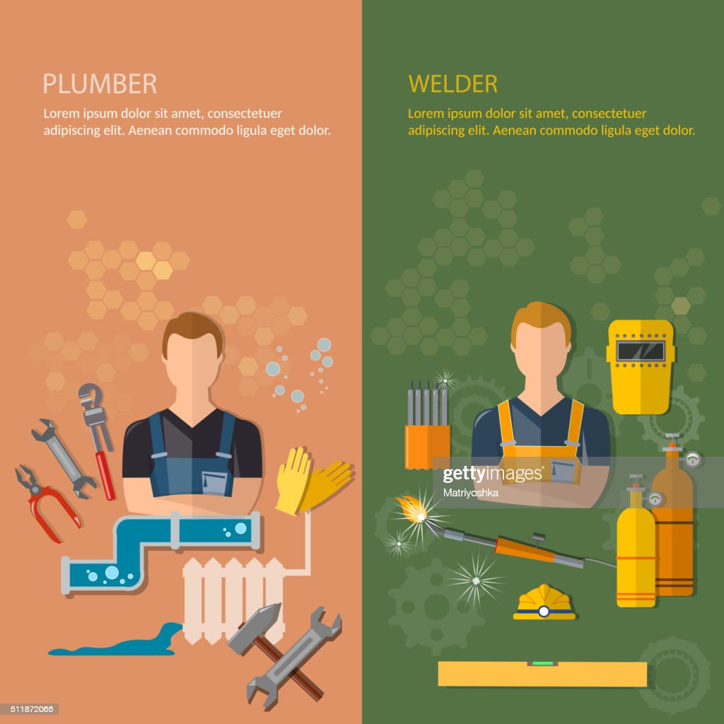 Industrial professions banners plumber and welder
