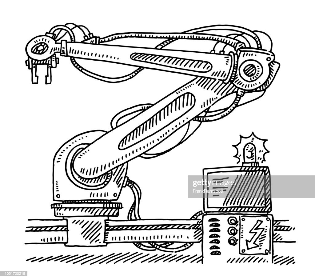 Industrieroboter Computer Alert Zeichnung : Vektorgrafik