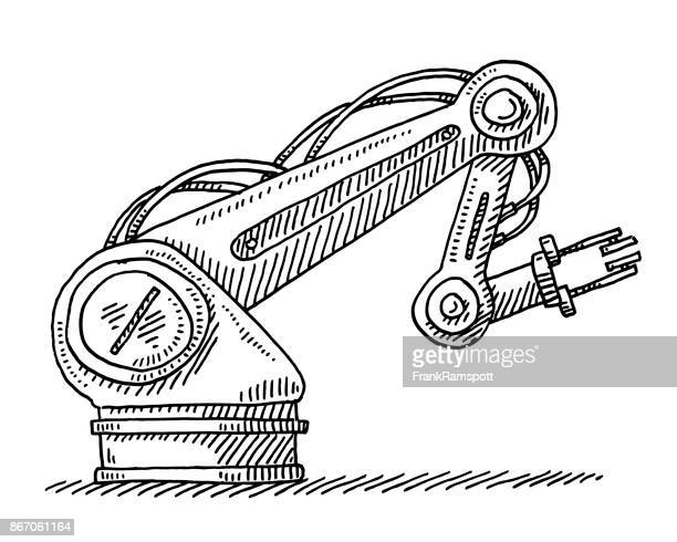industrial robot technology drawing - crane construction machinery stock illustrations