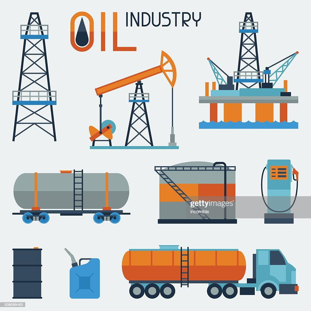 Industrial set of oil and petrol icon