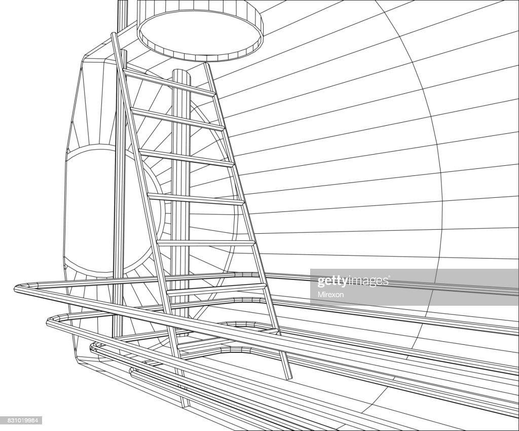 Industrial tank. Wire-frame. EPS10 format. Vector created of 3d.