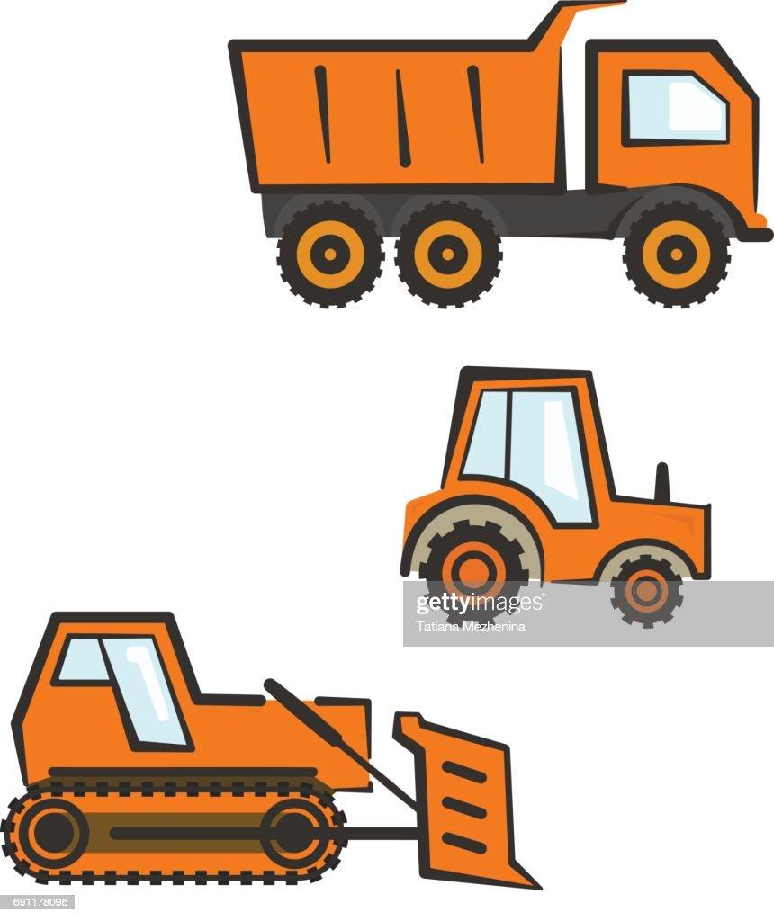Industrial transport set. Dozer, tractor, dumper