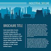 Industrial vector business template design with factory silhouette and text