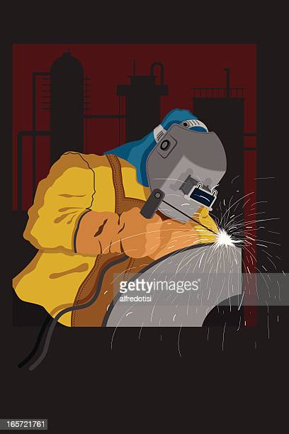 ilustraciones, imágenes clip art, dibujos animados e iconos de stock de soldador industrial - soldar