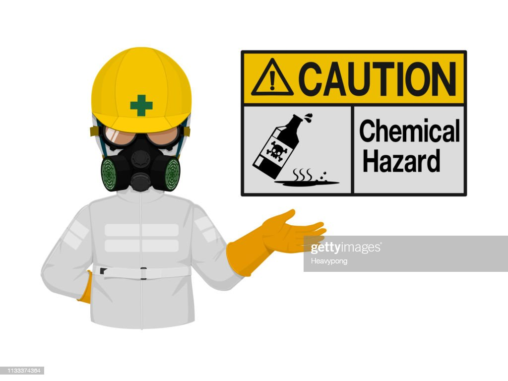 Industrial worker is presenting chemical hazard sign