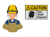 Industrial worker is presenting face shield warning sign