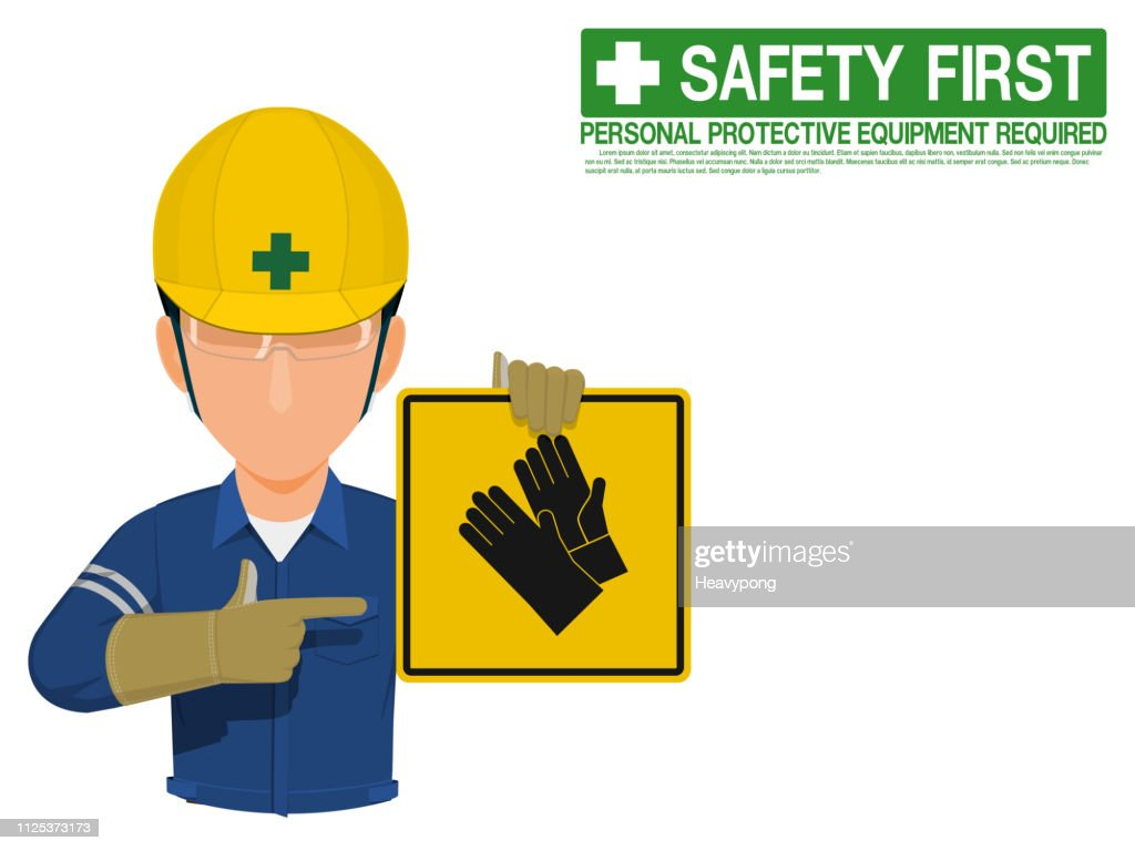 Industrial worker is presenting gloves sign