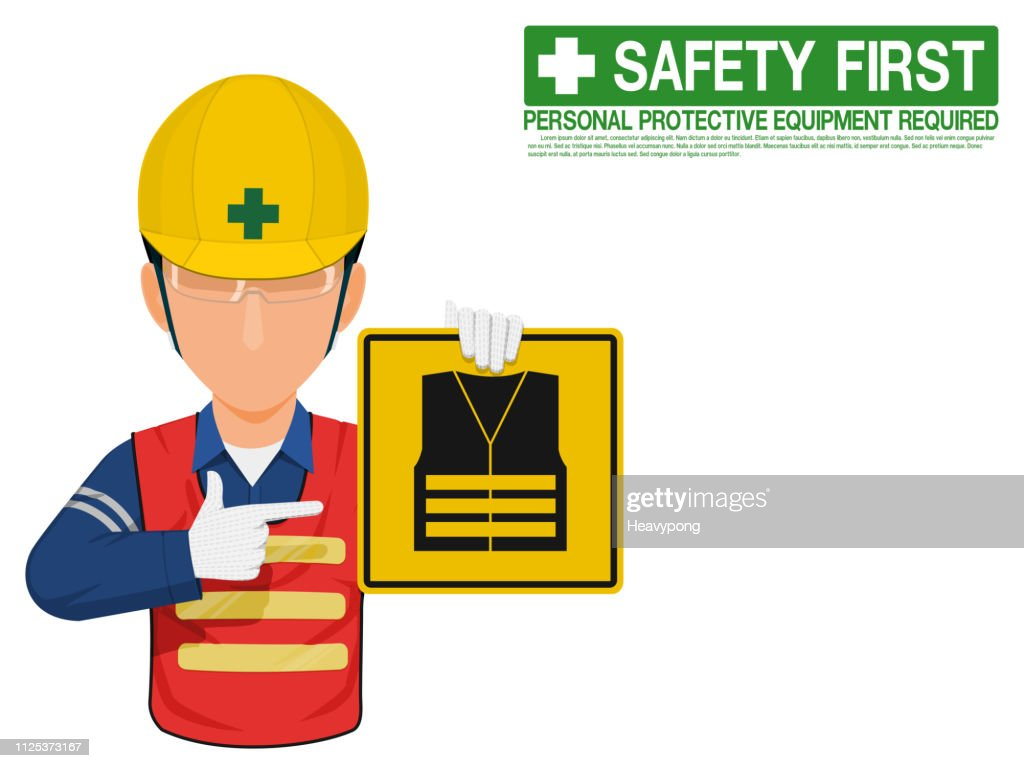 Industrial worker is presenting high visibility clothe sign