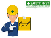 Industrial worker is presenting safety glasses sign