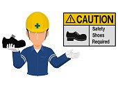 Industrial worker is presenting shoe warning sign