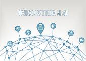 Industrie 4.0 Text auf weißem Hintergrund als Vektor Illustration mit Symbolen von vernetzen Objekten.