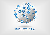 Industrie 4.0 Text auf weißem Hintergrund als Vektor Illustration mit Symbolen von vernetzen Objekten auf einer Weltkugel.