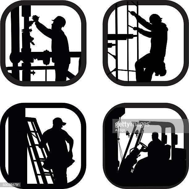 ilustraciones, imágenes clip art, dibujos animados e iconos de stock de industrious - electricista