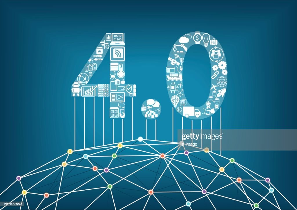 Industry 4.0 and industrial internet of things concept with vector illustration of a connected digital world