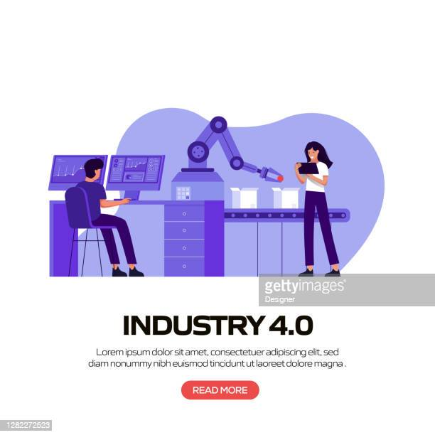 industry 4.0 concept vector illustration for website banner, advertisement and marketing material, online advertising, business presentation etc. - deep learning stock illustrations