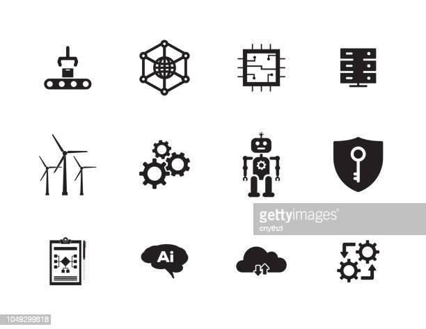 illustrazioni stock, clip art, cartoni animati e icone di tendenza di set di icone industria 4.0 - automatizzato