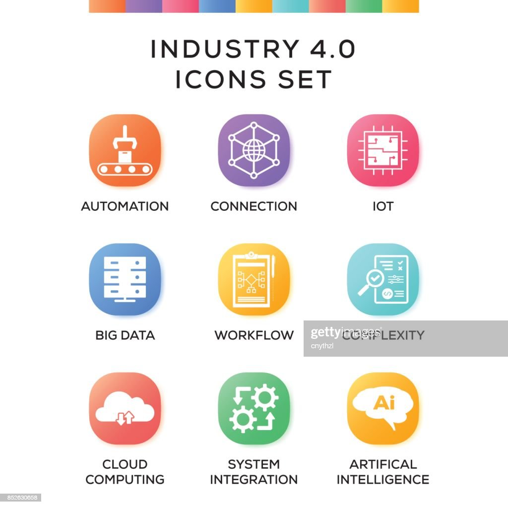 Industry 4.0 Icons Set on Gradient Background