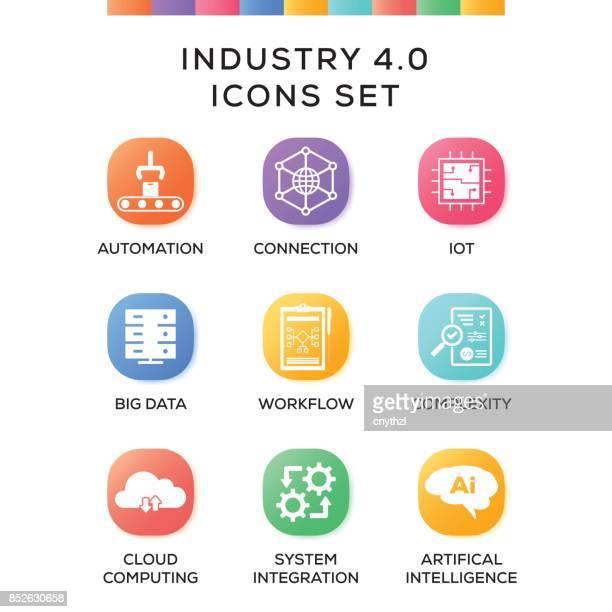 ilustrações, clipart, desenhos animados e ícones de indústria 4.0 ícones definido em fundo gradiente - inteligência