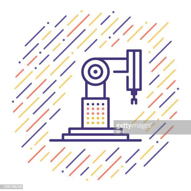 industrie 4.0 liniensymbol - rechnerunterstütztes konstruieren stock-grafiken, -clipart, -cartoons und -symbole