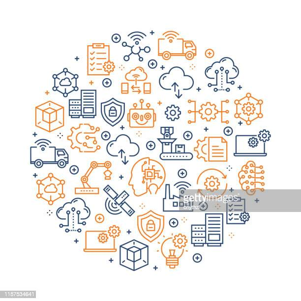 industry 4.0 pattern design - colorful line icons arranged in circle - smart stock illustrations