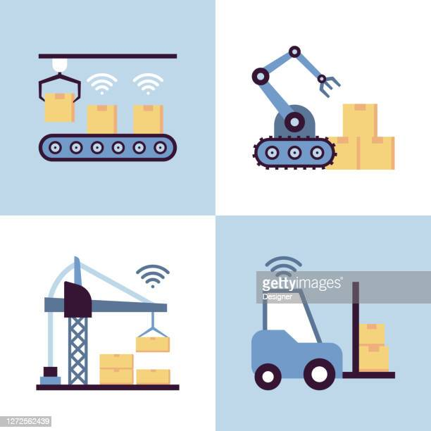 industry 4.0 related flat style icons. vector symbol illustration. - deep learning stock illustrations