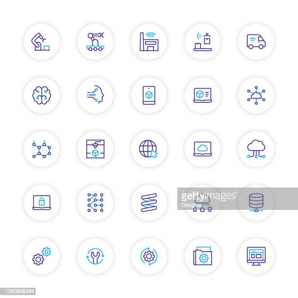 industry 4.0 related line icons. vector symbol illustration. - deep learning stock illustrations