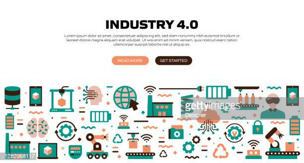 industry 4.0 related modern flat style vector illustration - deep learning stock illustrations