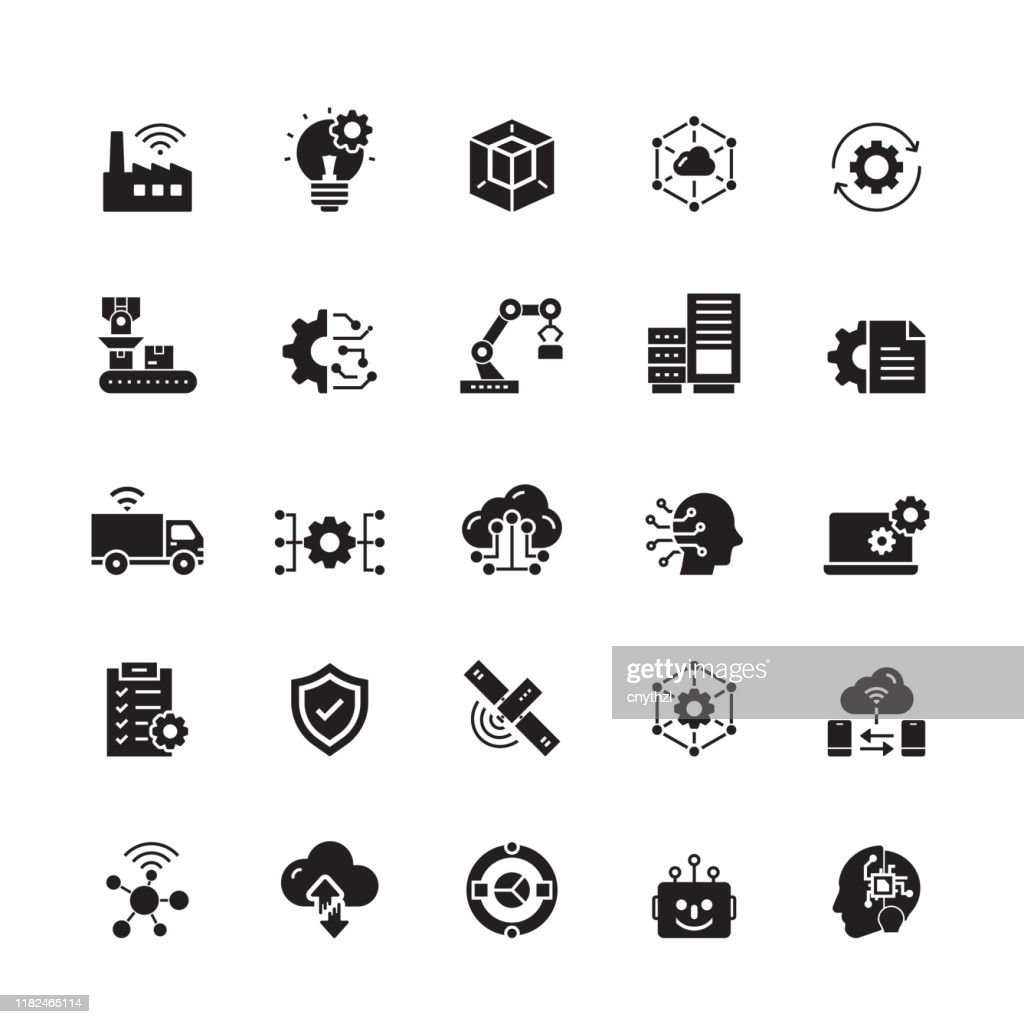 Industry 4,0 gerelateerde vector iconen : Stockillustraties