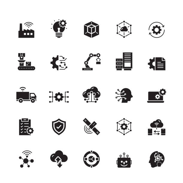 industry 4.0 related vector icons - human body part stock illustrations