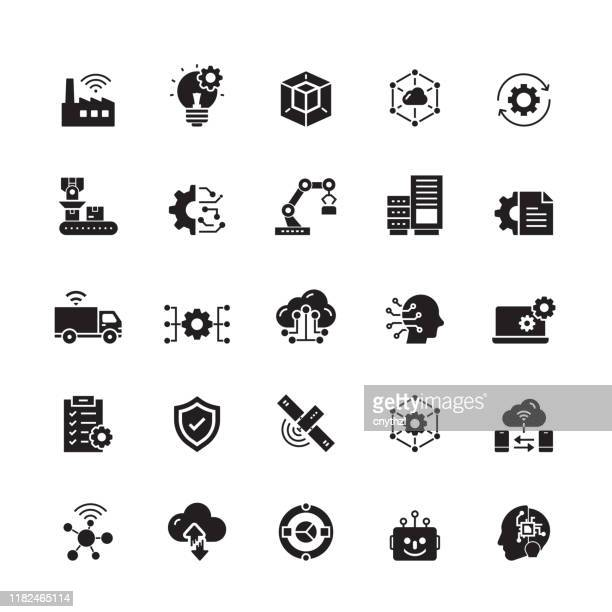 industry 4.0 related vector icons - technology stock illustrations