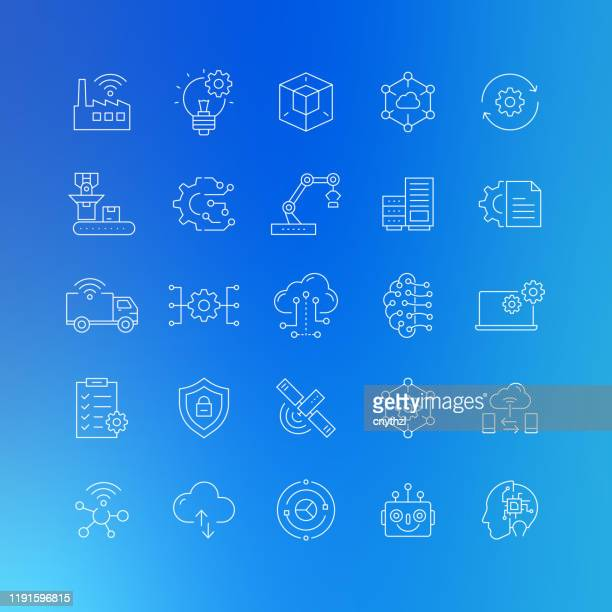 industry 4.0 related vector line icons - editable stroke - big data health stock illustrations