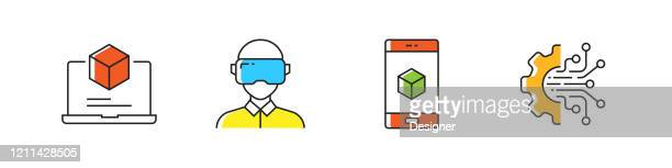 industry 4.0 related vector line icons. outline symbol collection. - deep learning stock illustrations