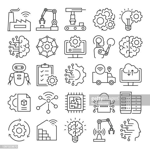 industrie 4.0 verwandte vektorliniensymbole. pixel perfekte sumriss symbol - automatisiert stock-grafiken, -clipart, -cartoons und -symbole