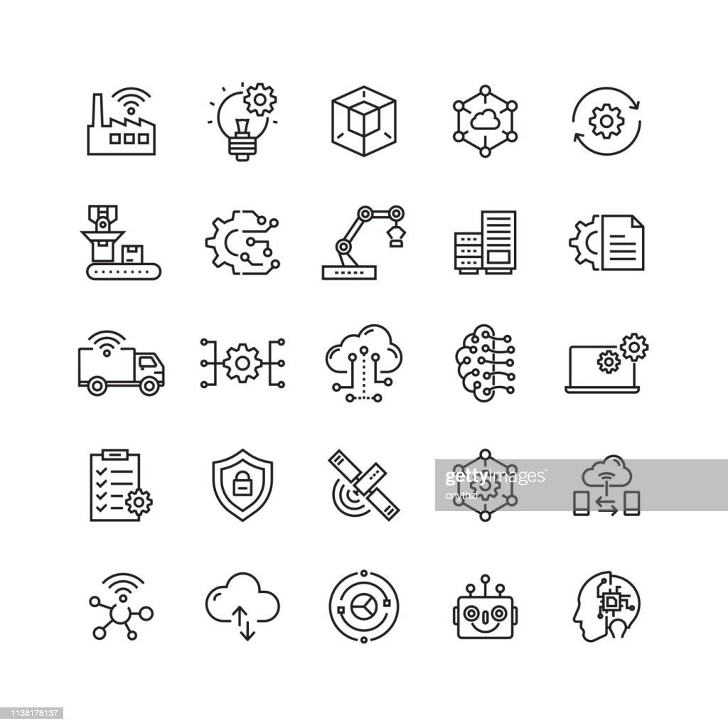 Industry 4.0 Related Vector Line Icons : stock illustration