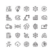 Industry 4.0 Related Vector Line Icons