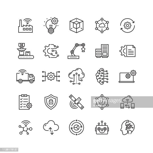 industry 4.0 related vector line icons - engineering stock illustrations