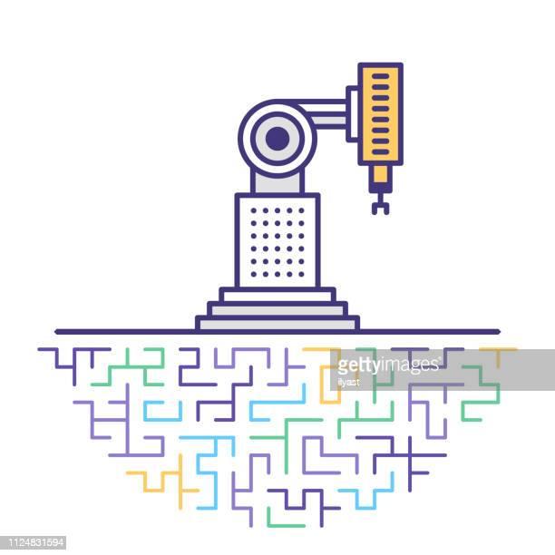 ilustraciones, imágenes clip art, dibujos animados e iconos de stock de 4.0 la industria robótica flat line icono ilustración - línea de producción
